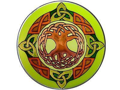 "10"" Round Irish CELTIC TREE OF LIFE Green Stained Art Glass Suncatcher"