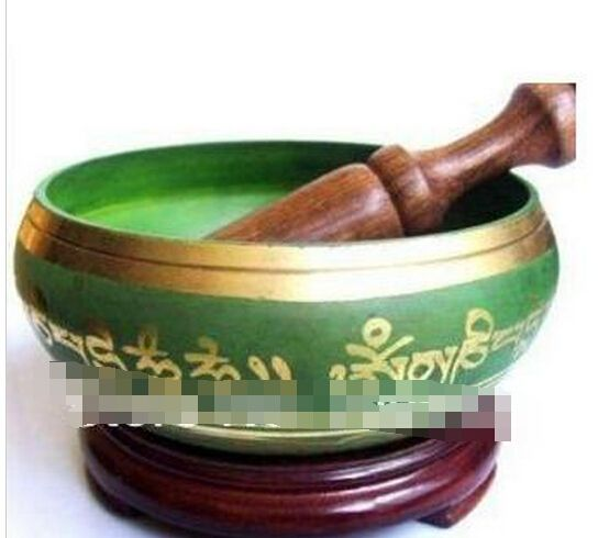 B0602 427 Бронзовый Винтаж ПОДАРОК Азии Тибетский Меди зеленый ОМ Кольцо Гонг Поющая Чаша Удара Antique мужская чаши статуя