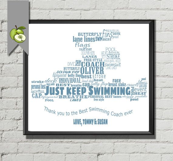 Swimming Coach appreciation word cloud customized Signing board - team -Personalized - Gift- DIY printable- coach gift -custom -sport team