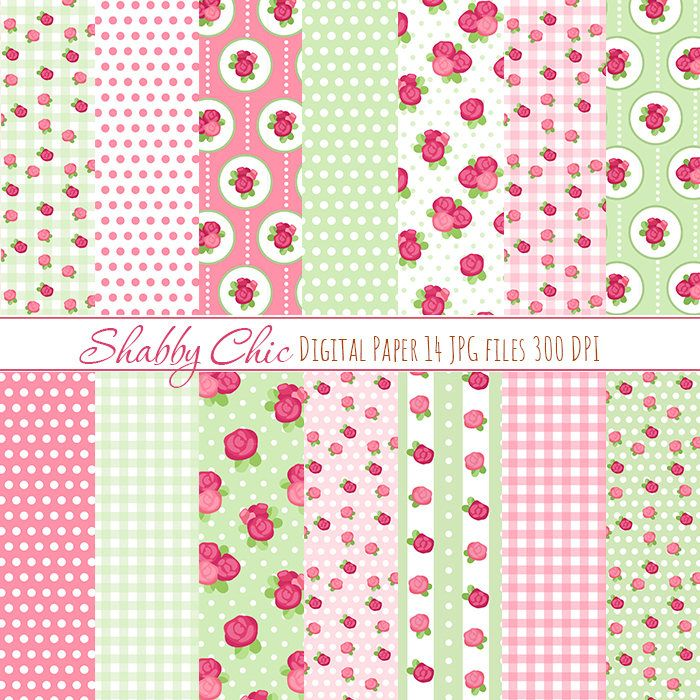 Shabby Chick paper pack Pink Pastel Paper by DigiPPP on Etsy
