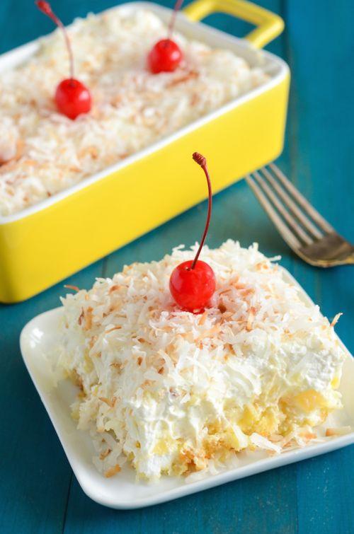 Paula Deen-Inspired Pineapple Coconut Cake   TheBestDessertRecipes.com