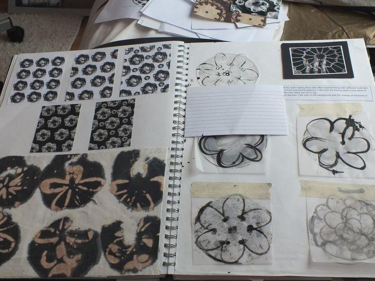 AS level-Unit 1-Textiles, sketchbook page   #scrapbookpage #textiles #college #unit1 #architectural #insperation #floral #love #workingprogress