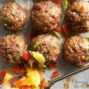 Sweet and Spicy Meatballs with Mango Salsa Make a double batch of this mango salsa to serve with tortilla chips.