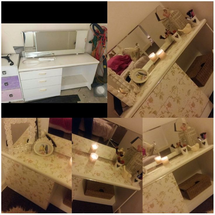 Upcycled dressing table vanity  Desk bought for £15  Vinyl covering 99p per 3 meter roll 99p store. Mirror lights are plug in fairy lights attached to the back of the mirror £3.49 from argos. Draw handles £12 from B & M store.  #upcycle #makeup #shabbychic