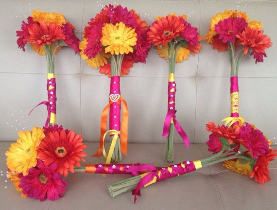 Hot Pink Fuchsia Yellow Orange Wedding Gerbera Daisy Bridal Bouquet Package Signature Bouquet on Etsy, $320.00