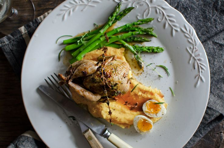 Quail with sweet potato & asparagus
