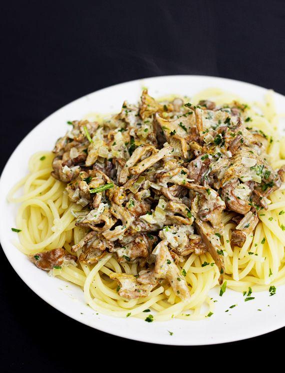 Vegan chanterelle pasta.  http://vegoriket.se/?p=353#more-353