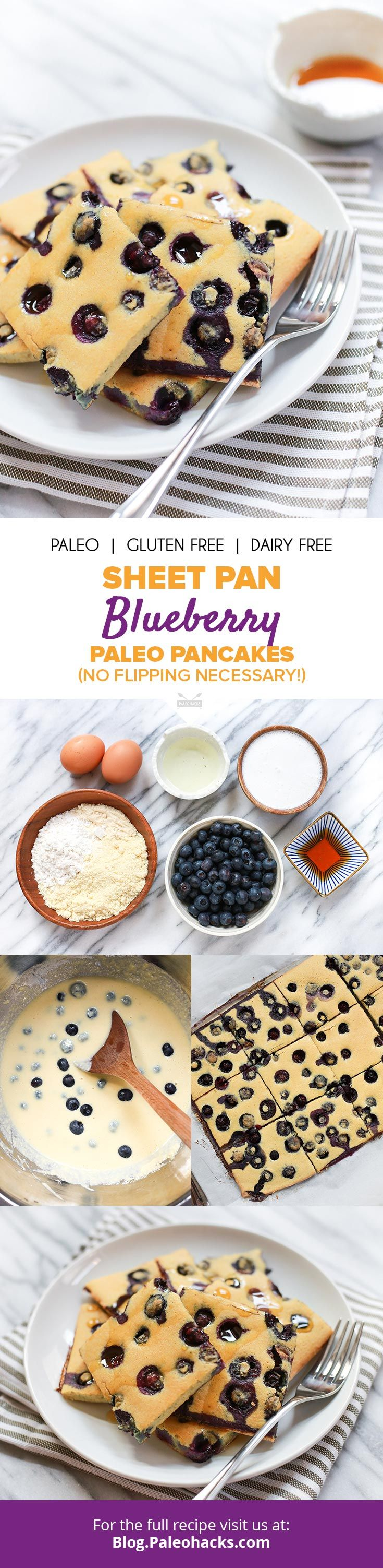 Whip up a big batch of blueberry pancakes right in the oven with this easy sheet pan recipe! Get the full recipe here: http://paleo.co/SPblueberrypancakes