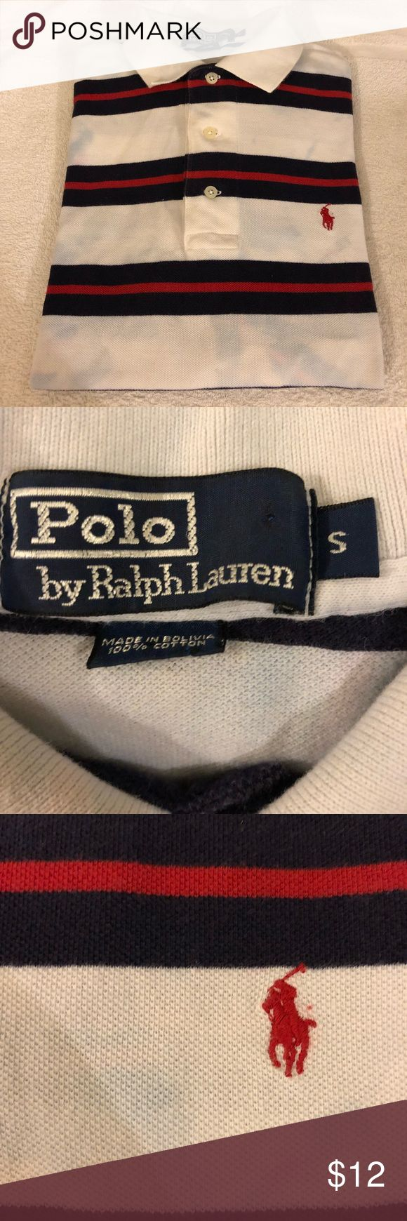 Polo Ralph Lauren White Stripe Distressed Shirt S Polo Ralph Lauren White, Navy Blue and Red Stripe Distressed Short Sleeve Polo Shirt size Small! Great condition! The color mixes are the way the Shirt was made! Please make reasonable offers and bundle! Ask questions! :) Polo by Ralph Lauren Shirts Polos
