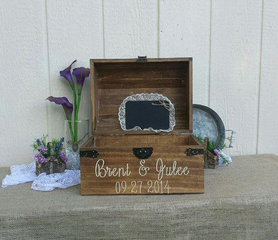 Coffre en bois rustique boîte de carte mariage, mariage carte Placement, mariage carte poitrine, X grand Keepsake Box, boîte, boîte de mariage poitrine de carte