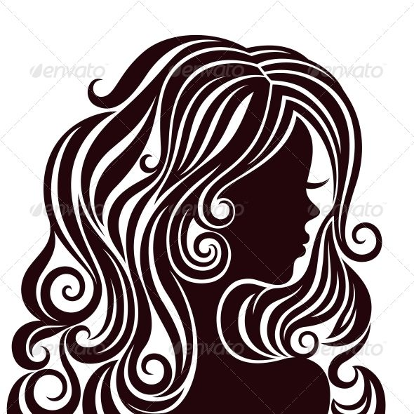 Silhouette of a Young Lady with Luxurious Hair | GraphicRiver
