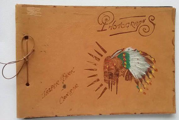 Vintage Photograph Album Leather Scrapbook Jasper Park Sourvenir by jeanienineandme on Etsy