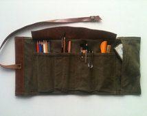 Artist's Tool Bag / Gabardine and Leather Pencil Case / Travel Bag