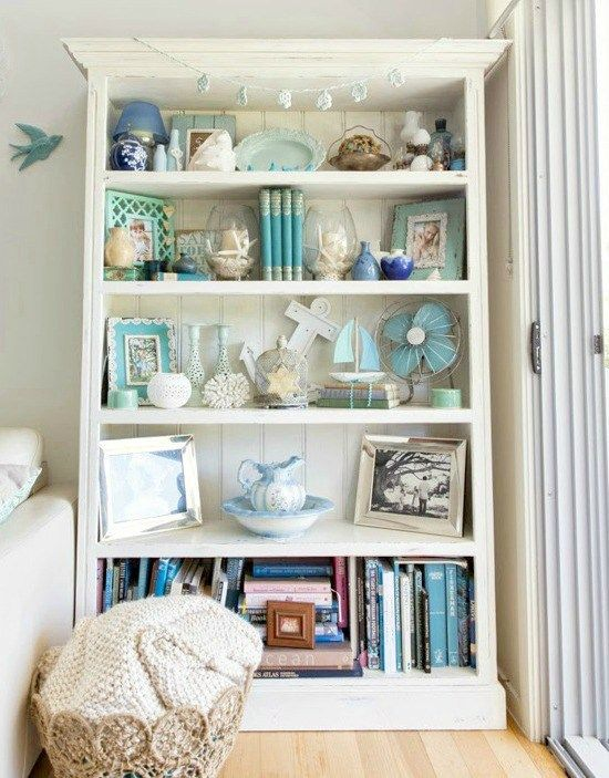 Shelf Decor Styling with a Beach Theme.  For similar pins please follow me at -https://www.pinterest.com/annelouise1959/beach-coastal-decor/