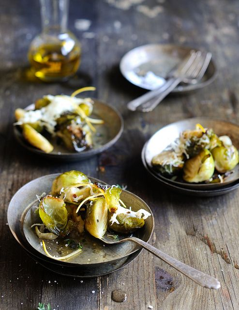 Baked Brussels Sprouts with Shaved Parmesan & Lemon.