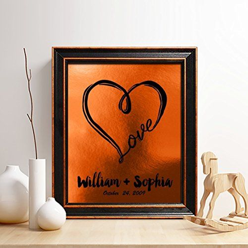 Personalized 7th or 22nd Copper Anniversary Gift for Him or Her Special Date Print Heart and Love Print Gifts for Husband and Wife Review