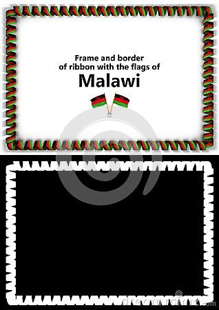 frame and border of ribbon with the malawi flag for diplomas