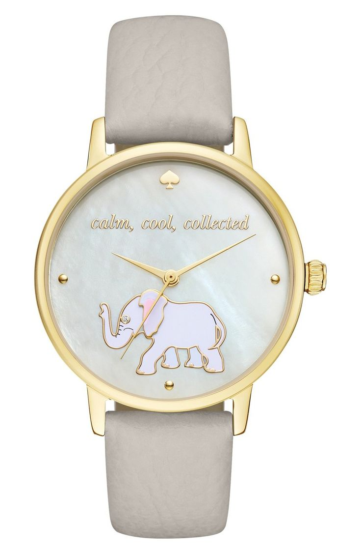 An adorable elephant saunters across the minimalist mother-of-pearl dial of this classic round watch, printed with a soothing mantra and set on a slim leather band.