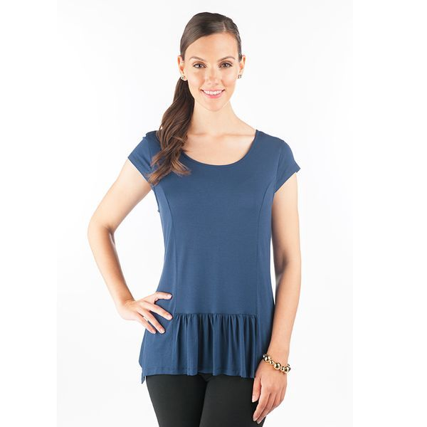 Soft jersey material and frilling on the bottom make this top a must-have this season! Cap sleeves and wide panelling create a flattering silhouette, reminiscent of peplum style. Wear with jeans and sandals during the day, and dress up with heels and a blazer for an elevated evening look.