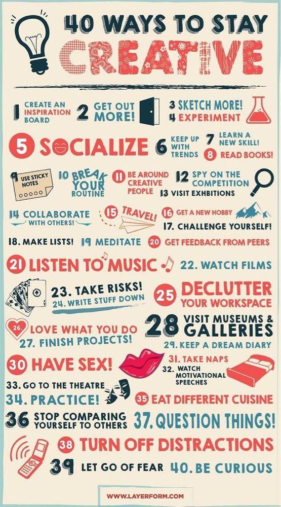 40 Möglichkeiten kreativ zu bleiben #Produktivität #kreativundfrei http://designtaxi.com/news/369781/Infographic-40-Ways-To-Stay-Creative/?interstital_shown=1&utm_content=buffer8db4e&utm_medium=social&utm_source=pinterest.com&utm_campaign=buffer