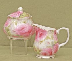 Lady Diana Chintz Fine Bone China - Sugar and Creamer Set - Covered Sugar Bowl...Our Price: $51.75
