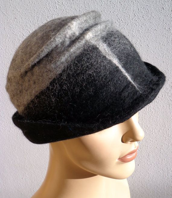 Gray and black retro hat felted hat felt cloche 1920s ❤ by feltgOOOd, $69.50
