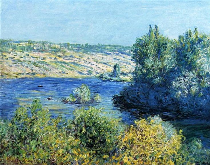 """""""The Seine at Vetheuil"""" ・ by Claude Monet ・ Completion Date: 1881 ・ Style: Impressionism ・ Series: The Seine at Vetheuil"""