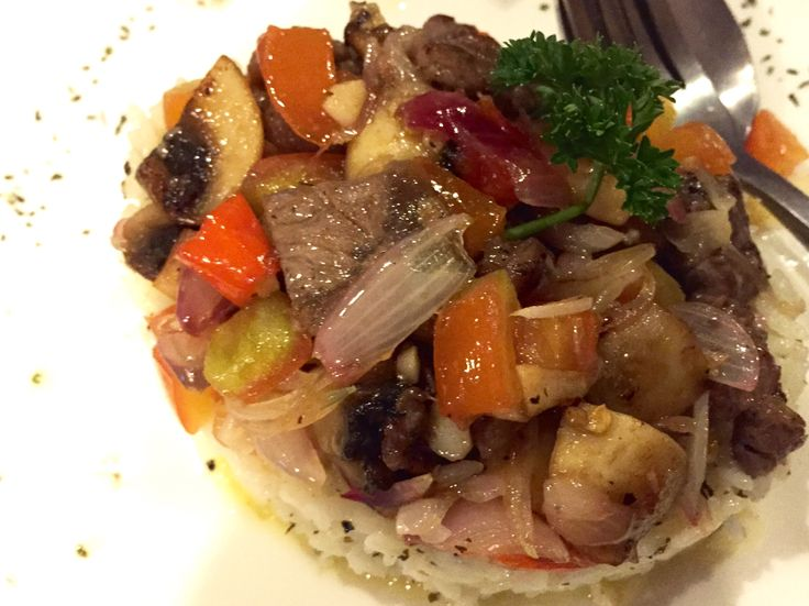 Mushroom dabu-dabu rice with sirloin bring the heaven into your mouth!