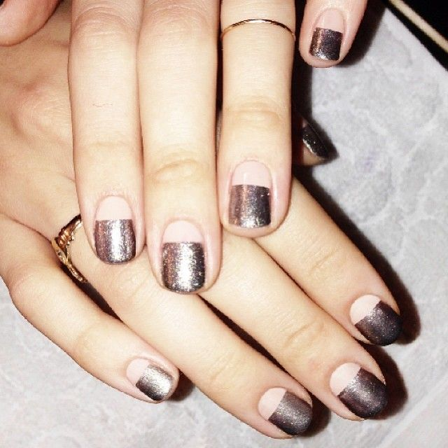 silver and nude color block nails: Nude Nails, French Manicures, Silver Nails, Metallic Nails, Color Block Nails, Metals Nails, Half Moon, Nude Colors, Colors Blocks Nails