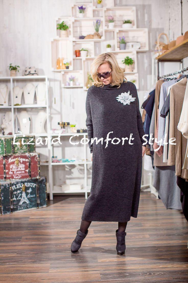 ЯВ1265: платье шерсть/акрил/нейлон. размер свободный до 56,Лесель. Украшение из кожи ручной работы