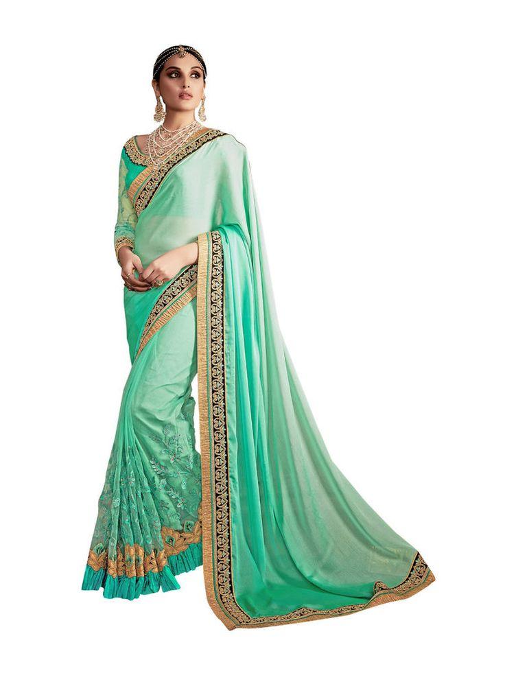 New India Ethnic Designer Wear Bollywood Saree Premium Wedding Wear Saree Green #RadhaKrishnaExports #BollywoodSaree #PremiumWeddingWear
