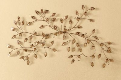 Gilded leaf metal wall art decor carol 39 s decorating for Metal leaf wall art