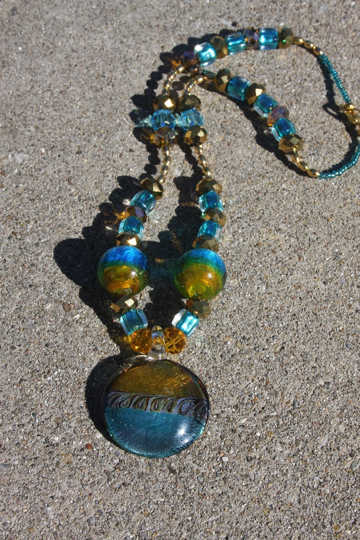 This is a favorite in turquoise and gold glass beads.: Glasses Beads, Glass Beads, Gold Glasses