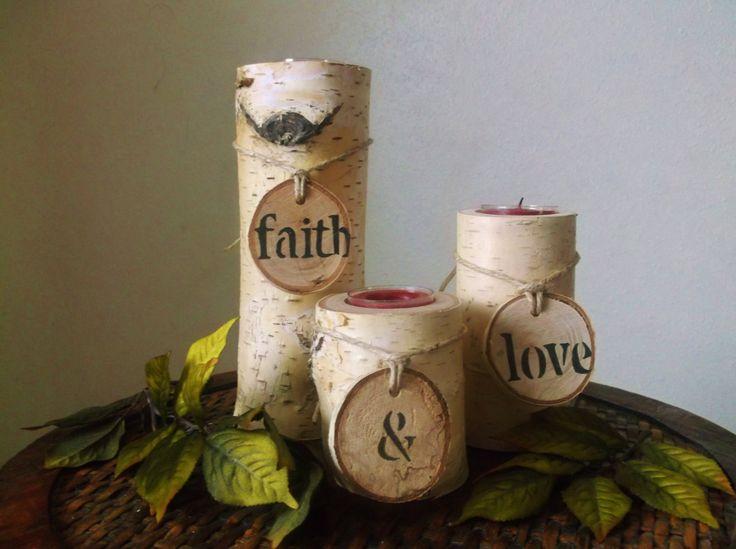 birch tree candle decor - Google Search