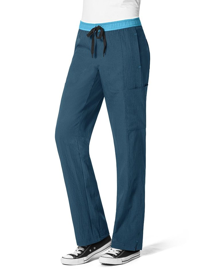 WonderWink Four-Stretch Straight Leg Scrub Pant X-small petite. Has to be Caribbean blue