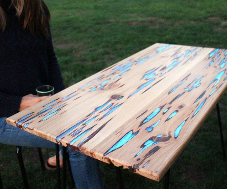 Really light up your next dinner party with a table that glows in the dark!Photoluminescent (glow) powder mixed with clear casting resin fills the naturally formed voids in Pecky Cypress ...