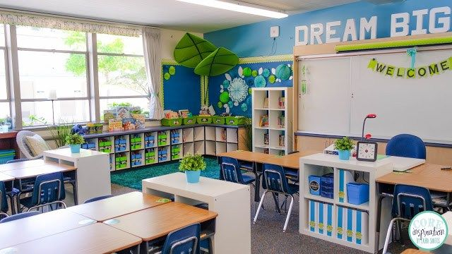 Cool colors of blue, green, teal, and aqua make this second grade classroom an oasis for learning.
