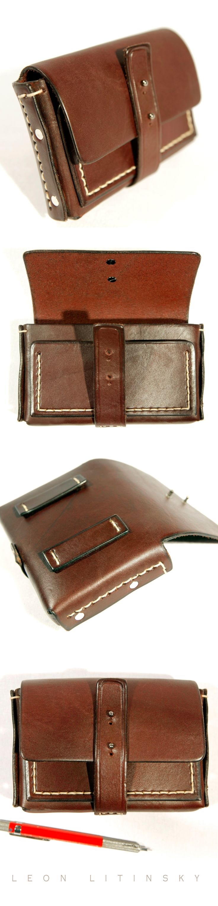 Leather Pouch Bag.  Fits smart phone, cigarettes, lighter, cash, cards and there is a still room for a pony... By Leon Litinsky