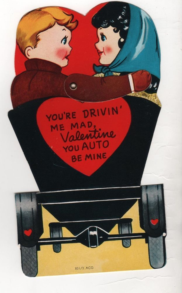 vintage die-cut mechanical Valentine Card 1910s model convertible car Auto