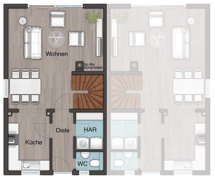 Die besten 25 doppelhaus grundriss ideen auf pinterest for Doppelhaus modern
