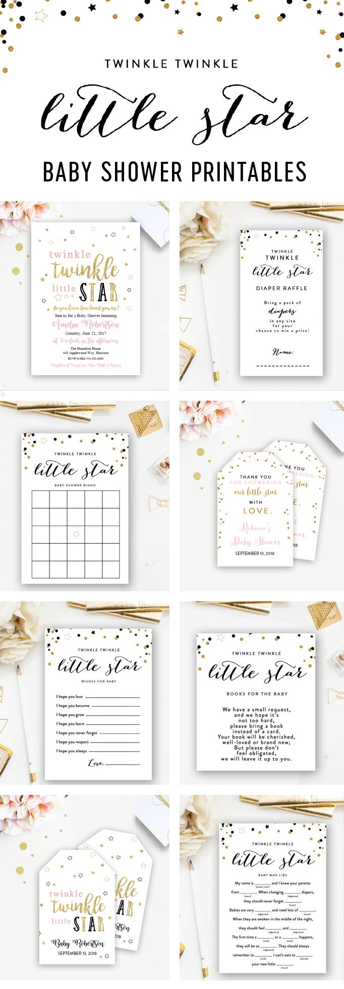 These Printables are Perfect to Go with Your Twinkle Twinkle Little Star Baby Shower Theme!