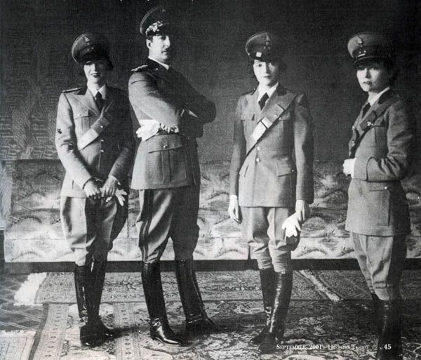 King Zog of Albania - with His Three Sisters in Uniform. Tirane, Albania, April 25, 1938.