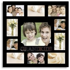"""Adeco Decorative Black Wood """"Grandkids"""" Hanging Picture Photo Frame, 11 Openings, Various Sizes"""