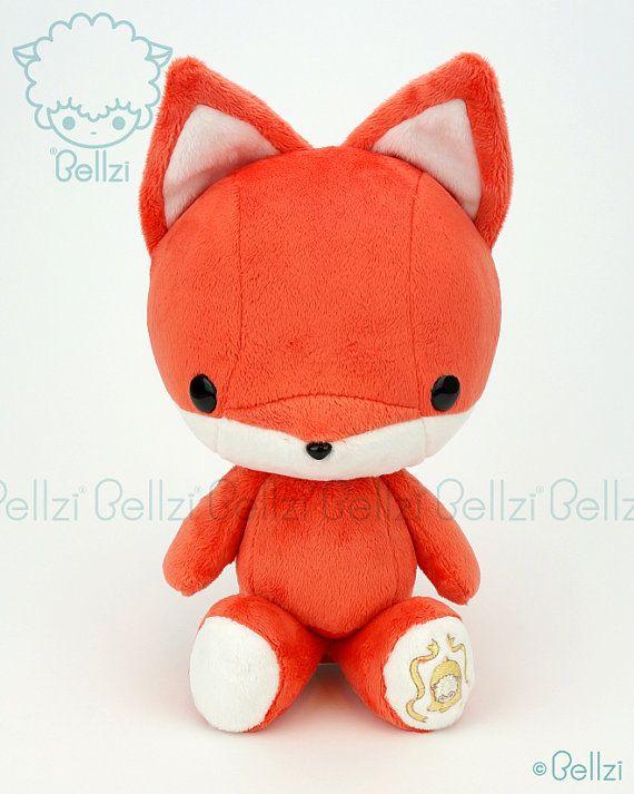 Bellzi ® mignon « Orange » w / contraste blanc Fox Plushie Doll - Foxxi - Made in USA