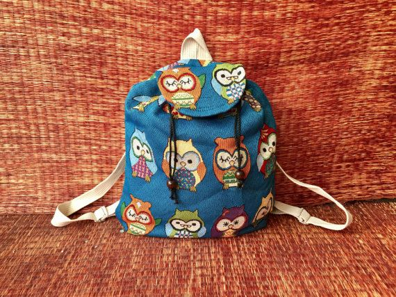 Cute Blue Owl Backpack Tribal Boho Styles by TribalSpiritShop