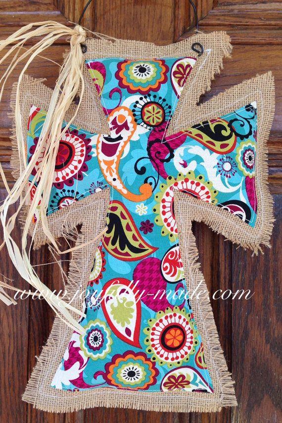Burlap Cross Door Hanger--Blue Paisley Burlap and Raffia Cross--Burlap Door Hanger