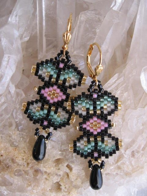 Seed Bead Beadwoven Earrings Stained Glass Black by pattimacs