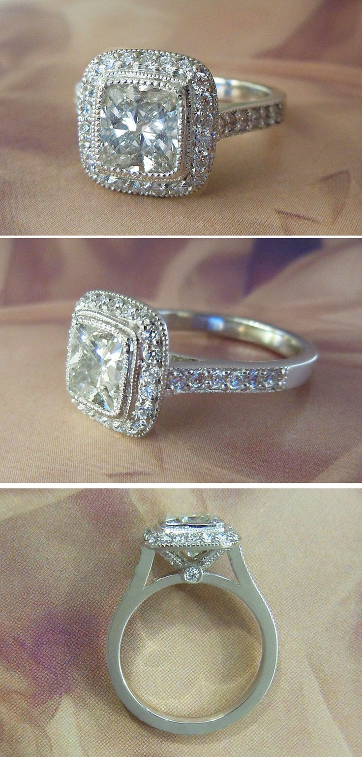Platinum 2 Carat VS2 Cushion Cut Diamond Halo Engagement Ring #Bridal #wedding #finejewelry #belowretail