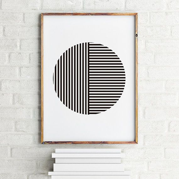 Geometric art print poster Striped Round / by MBmindbackup on Etsy
