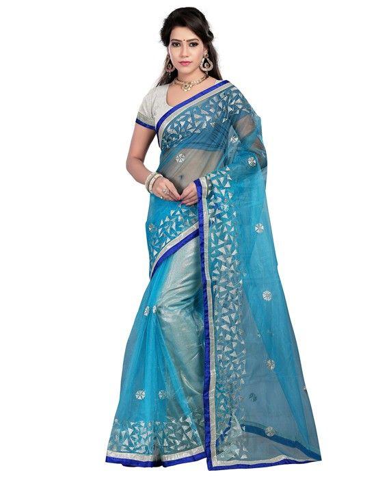 Buy Apparels- Sky Blue Colour Bright Net Party Wear Saree